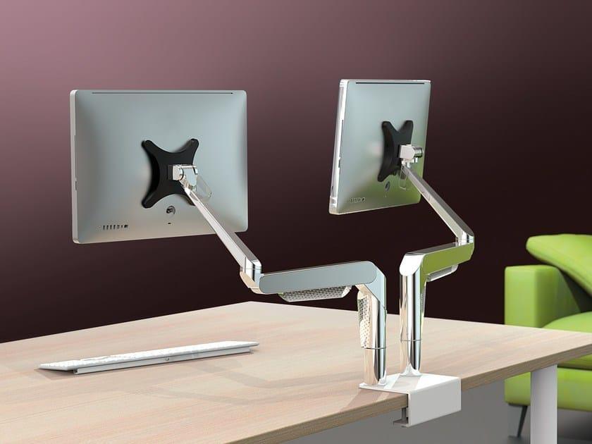 Supporto per monitor/TV in acciaio da scrivania PLUG & PLAY by Manade