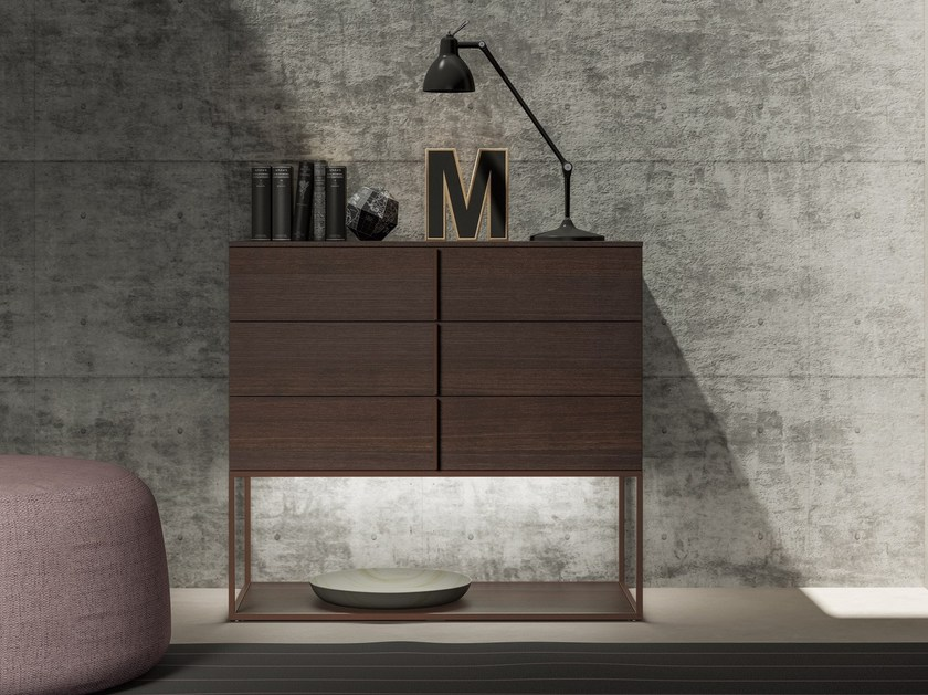 Lacquered wooden sideboard with drawers with integrated lighting PLUME | Sideboard by JESSE