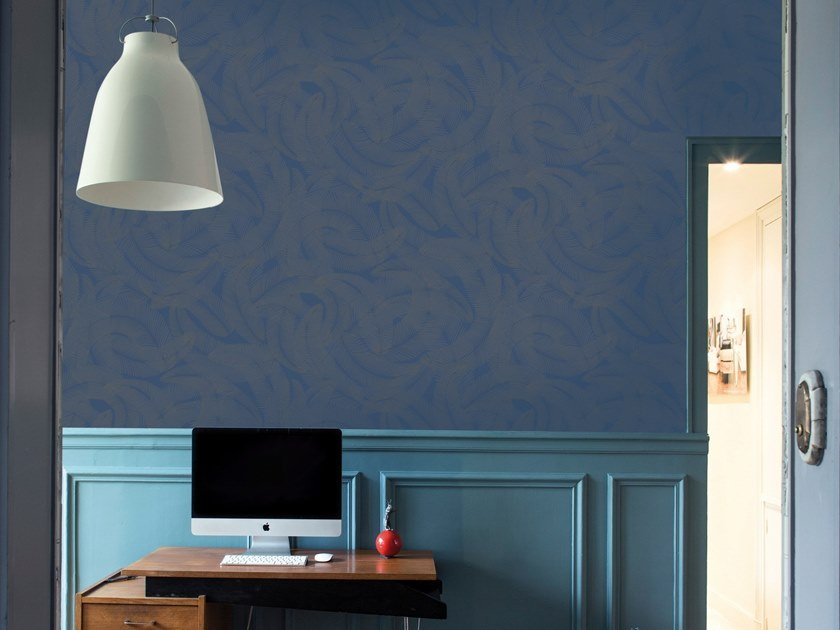 Motif non-woven paper wallpaper strip PLUMES by Isidore Leroy