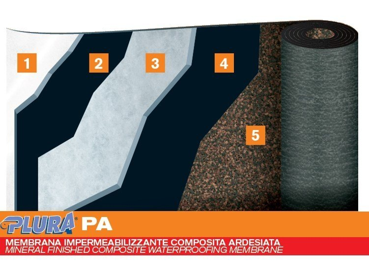 Self-protected membrane with slate granules PLURA PA by PLUVITEC