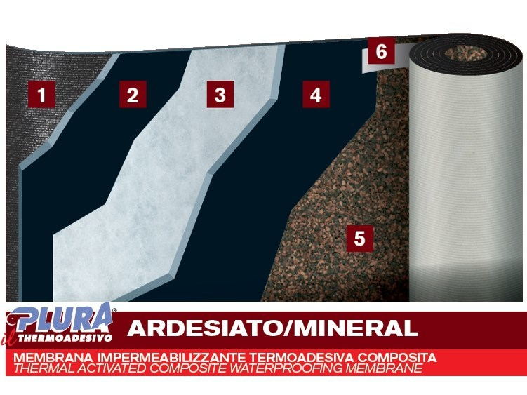 Self-protected membrane with slate granules PLURA THERMO AD MINERAL by PLUVITEC
