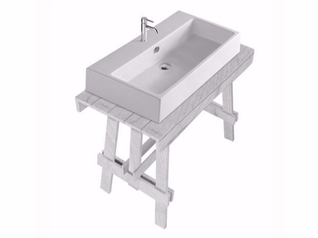 Lacquered larch console sink PLUS DESIGN 120 | Console sink by GALASSIA