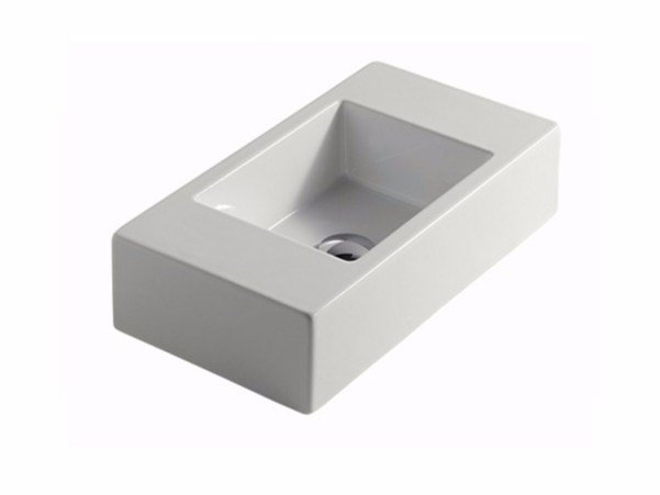 Countertop rectangular ceramic washbasin PLUS DESIGN 55 | Countertop washbasin by GALASSIA