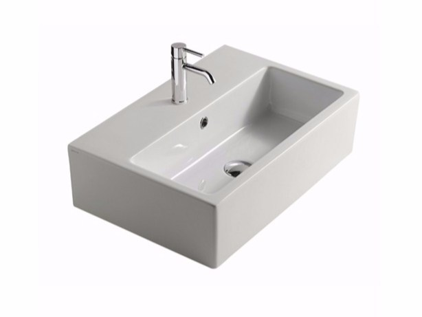 Countertop rectangular ceramic washbasin PLUS DESIGN 60 | Countertop washbasin by GALASSIA