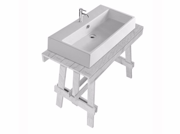 Lacquered larch console sink PLUS DESIGN 95   Console sink by GALASSIA