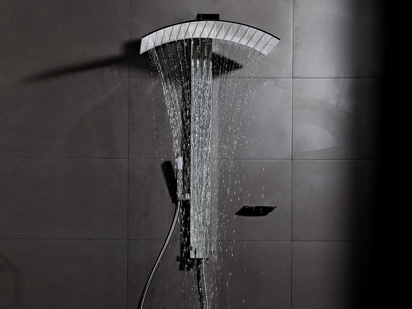 Wall-mounted brass shower panel PLUVIA | Shower panel by tender rain