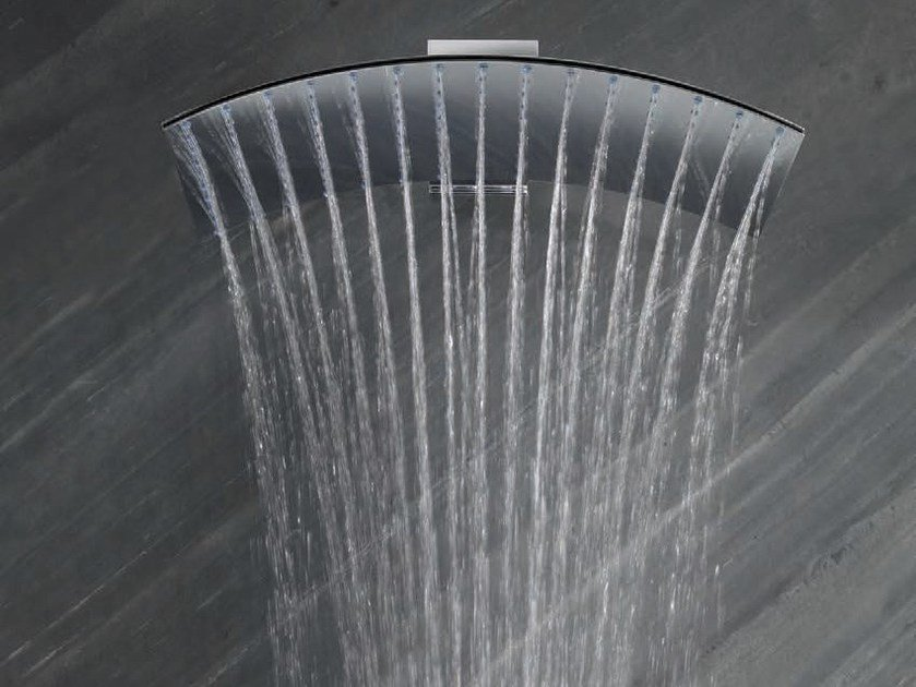 Wall-mounted brass rain shower with arm PLUVIA | Overhead shower by tender rain