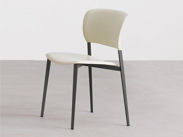 Upholstered open back tanned leather chair PLY | Chair by Desalto