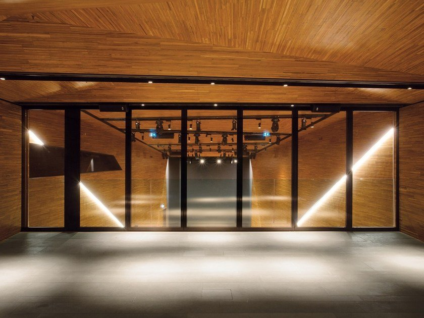Acoustic glass and aluminium operable wall PMIV - EDGE by ANAUNIA