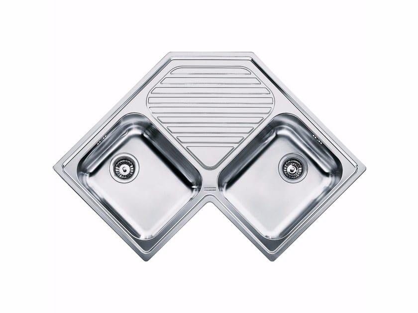 Lavello a 2 vasche da incasso in acciaio inox con sgocciolatoio PNX 621-E by FRANKE