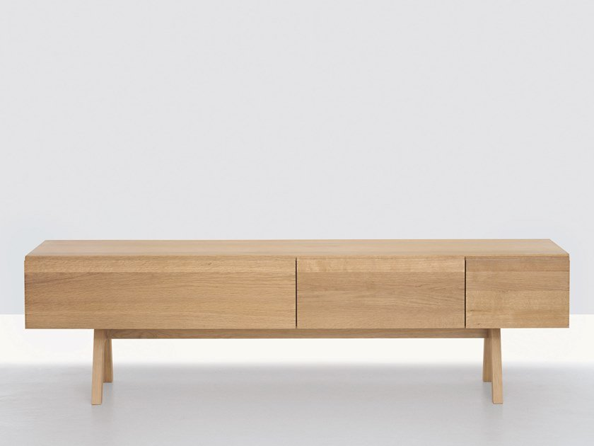 Solid wood sideboard with drawers PODEST ATELIER by ZEITRAUM