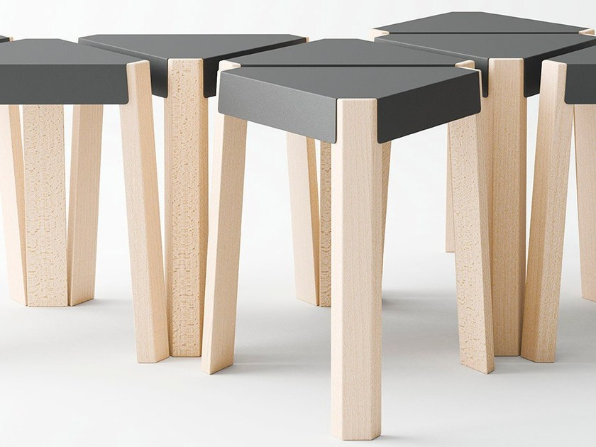 Low lacquered steel and wood stool PODIO | Low stool by CANCIO