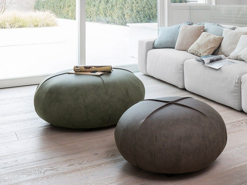 Pouf In Pelle.Anais Round Pouf Anais Collection By Baxter Design Draga Aurel