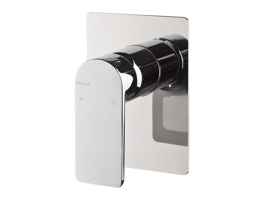 Single handle shower mixer with plate POIS | Shower mixer with plate by RITMONIO
