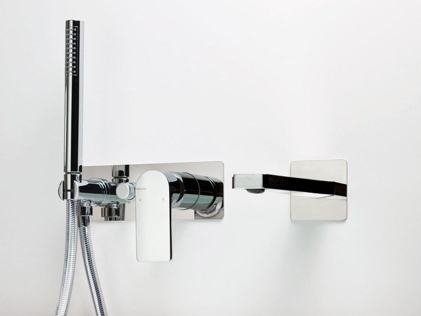 Wall-mounted bathtub set with hand shower POIS | Wall-mounted bathtub set by RITMONIO