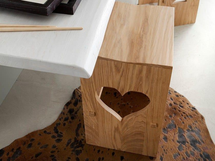 Oak stool with footrest POKER by AltaCorte