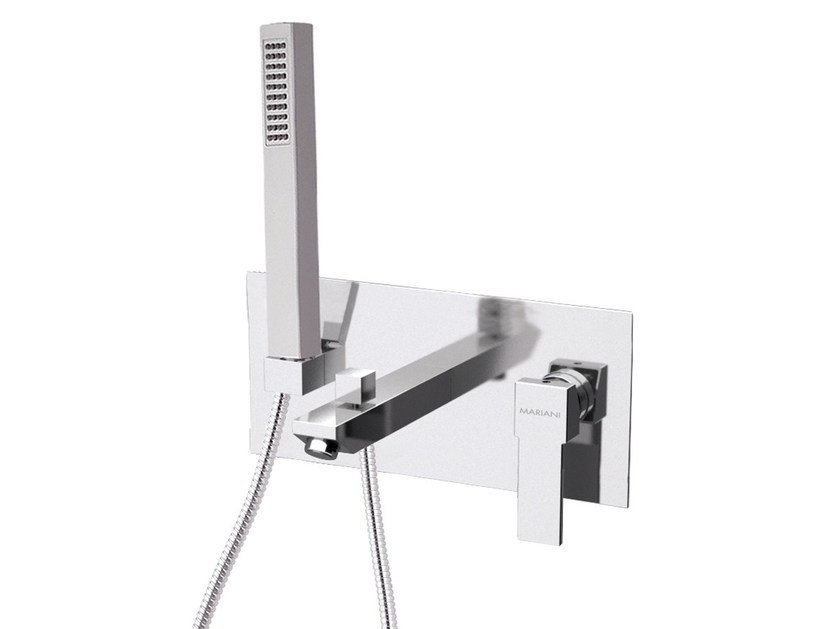 Wall-mounted bathtub mixer with hand shower with plate POLAR   Bathtub mixer with plate by Rubinetterie Mariani