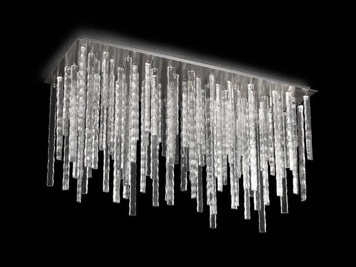 Plafoniera Rettangolare Cristallo : Plafoniera rettangolare in vetro soffiato polaris by multiforme