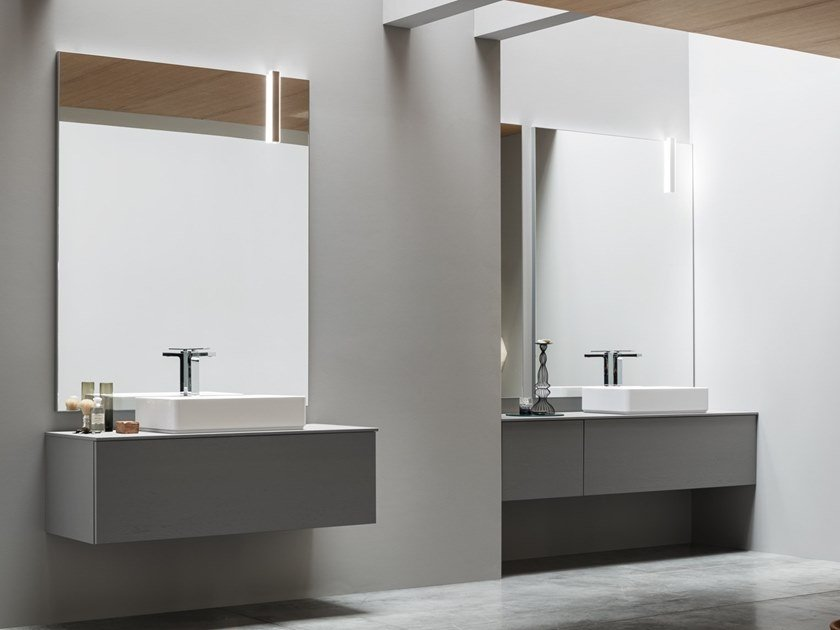 Wooden vanity unit with drawers with mirror POLLOCK - COMPOSIZIONE 60 by Arcom