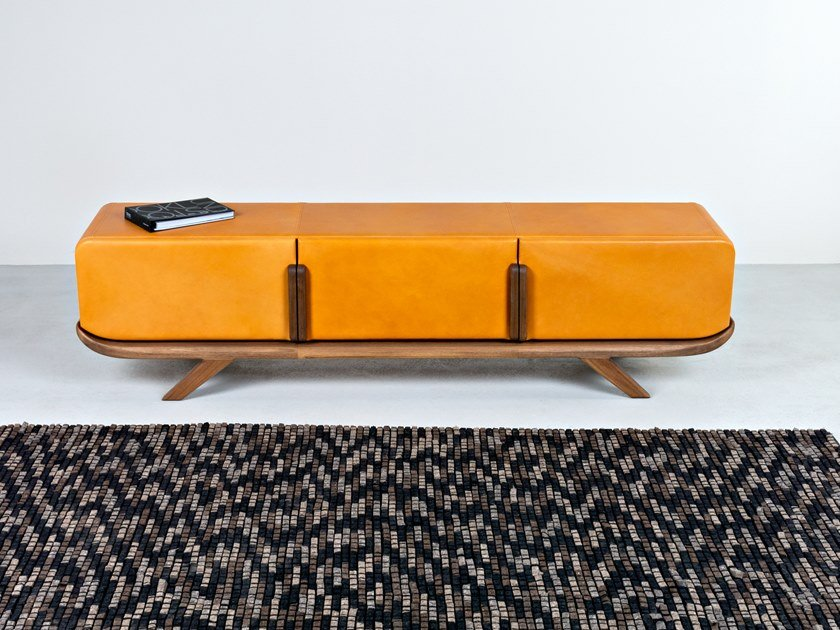 Leather sideboard with flap doors POLO by HOOKL und STOOL
