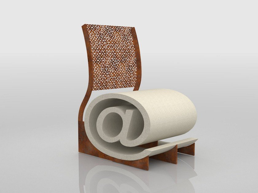 Reconstructed stone outdoor chair POLTRON@ 1.0 by Manufatti Viscio