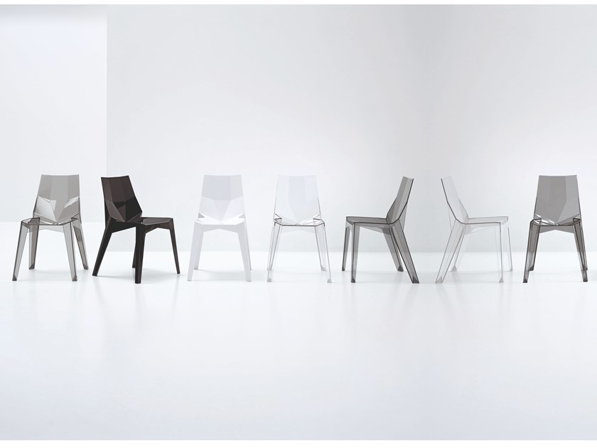 Stackable polycarbonate chair POLY by Bonaldo