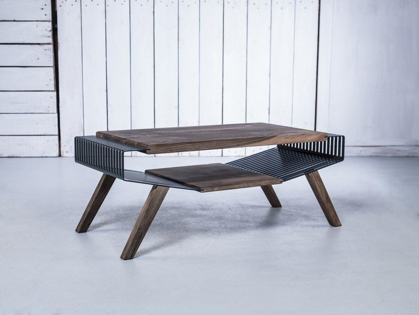 Exceptionnel Low Solid Wood Coffee Table With Storage Space POLYLINE NO 2 SMALL By HOOKL  Und STOOL