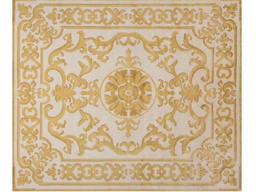 Patterned handmade rectangular rug POMPADOUR GOLD by EDITION BOUGAINVILLE