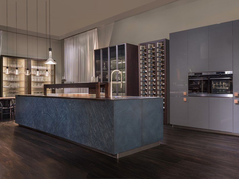 Glazed lava fitted kitchen POMPEI by SCIC