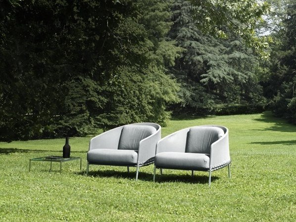 Fabric armchair with armrests PONCHO by Living Divani