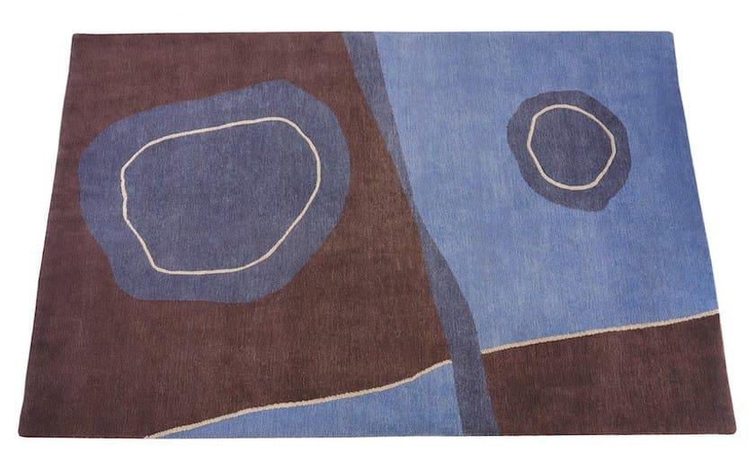 Contemporary style handmade rectangular fabric rug POND AND LAKE by Deirdre Dyson