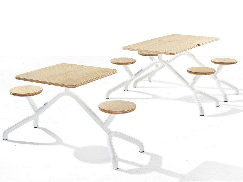 Stainless steel and wood Table for public areas with integrated seats PONY by Derlot Editions