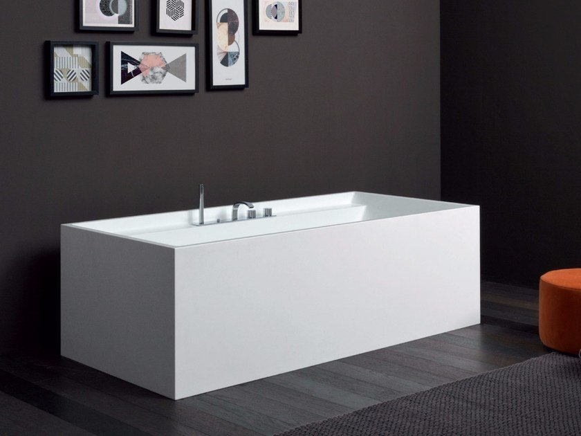 Rectangular Corian® bathtub POOL MAXI by Nic Design