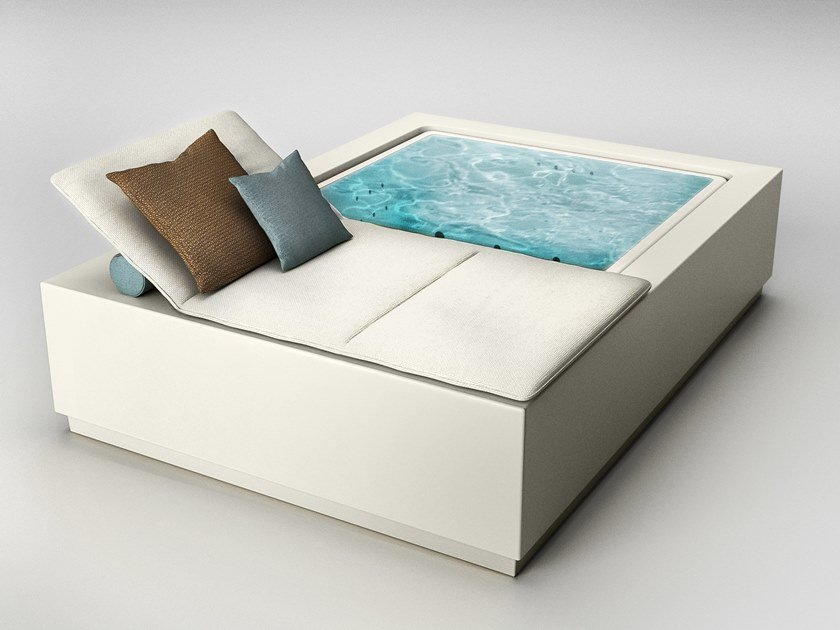 Overflow above-ground hydromassage fiberglass hot tub POOL QUADRAT RELAX by Kos by Zucchetti