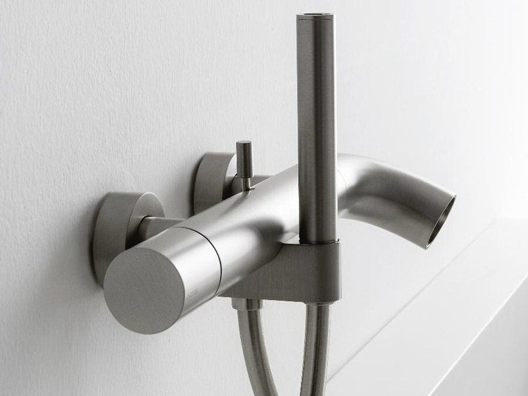 Wall-mounted bathtub mixer with diverter with hand shower POP | Bathtub mixer by ZAZZERI
