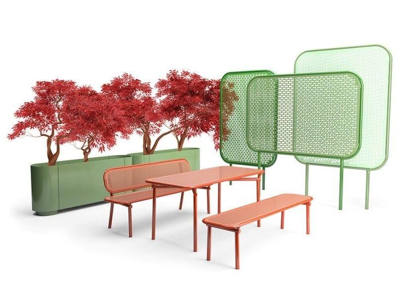 POP   Tavolo per spazi pubblici rettangolare