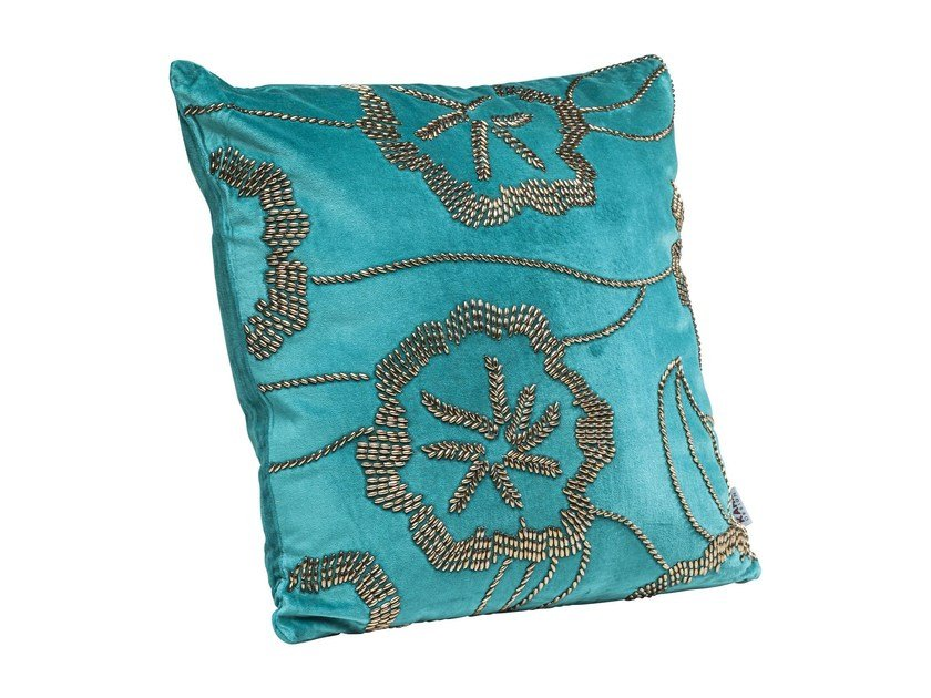 Square velvet cushion POPPY BLUE by KARE-DESIGN