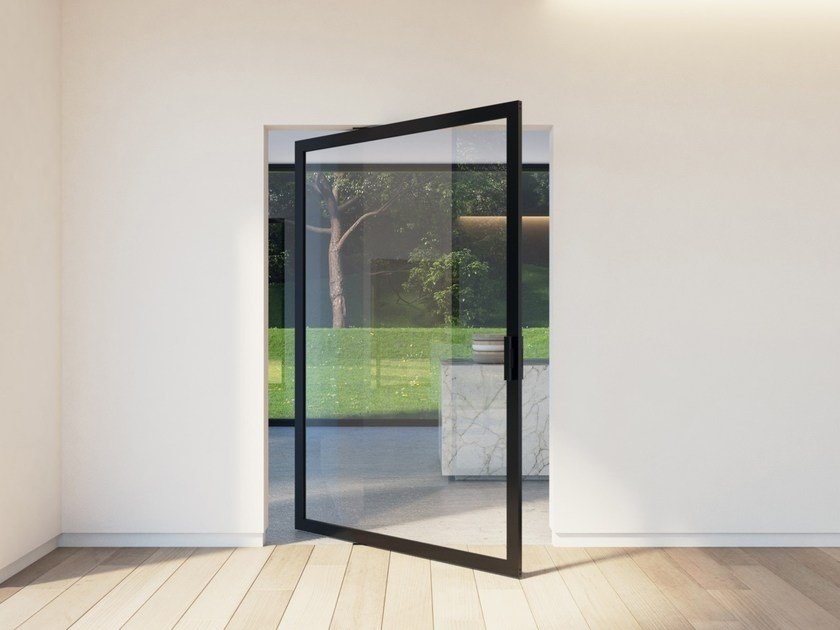 Pivot glass and aluminium door PORTAPIVOT 6530 XL - OFFSET AXIS by Portapivot