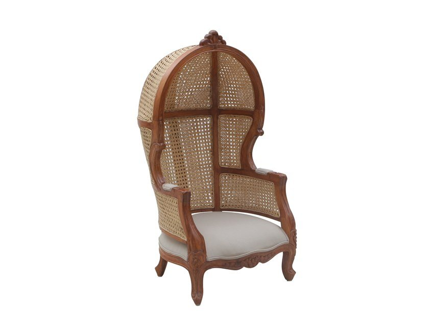 High-back wicker garden armchair PORTER JUNIOR by Il Giardino di Legno