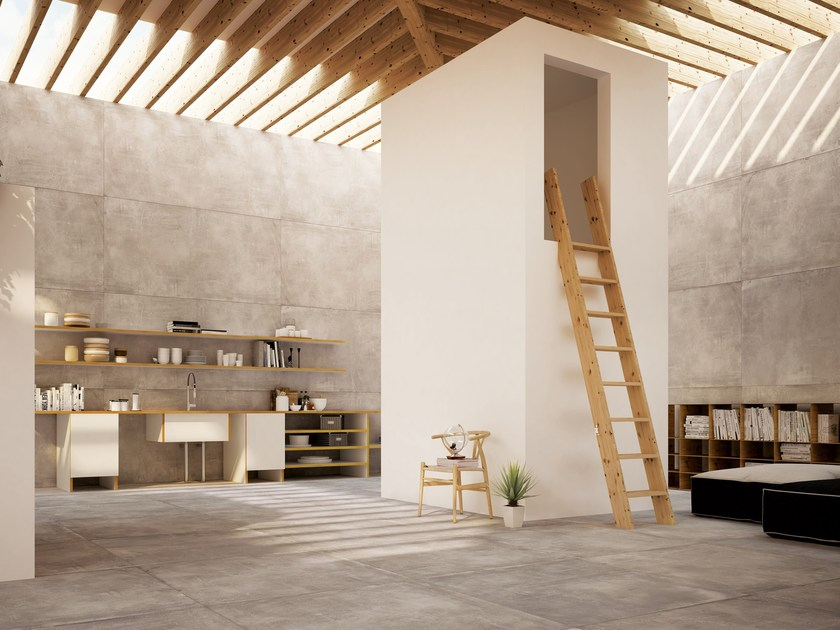Porcelain stoneware wall floor tiles with concrete effect portland 3 0 hood by ceramica fondovalle