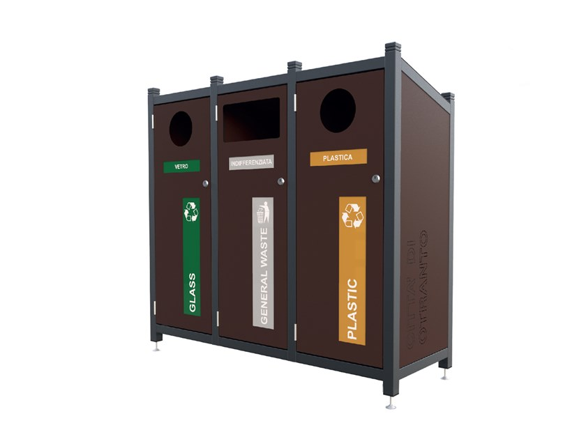 Outdoor galvanized plate litter bin for waste sorting PORTLAND | Litter bin for waste sorting by Lazzari