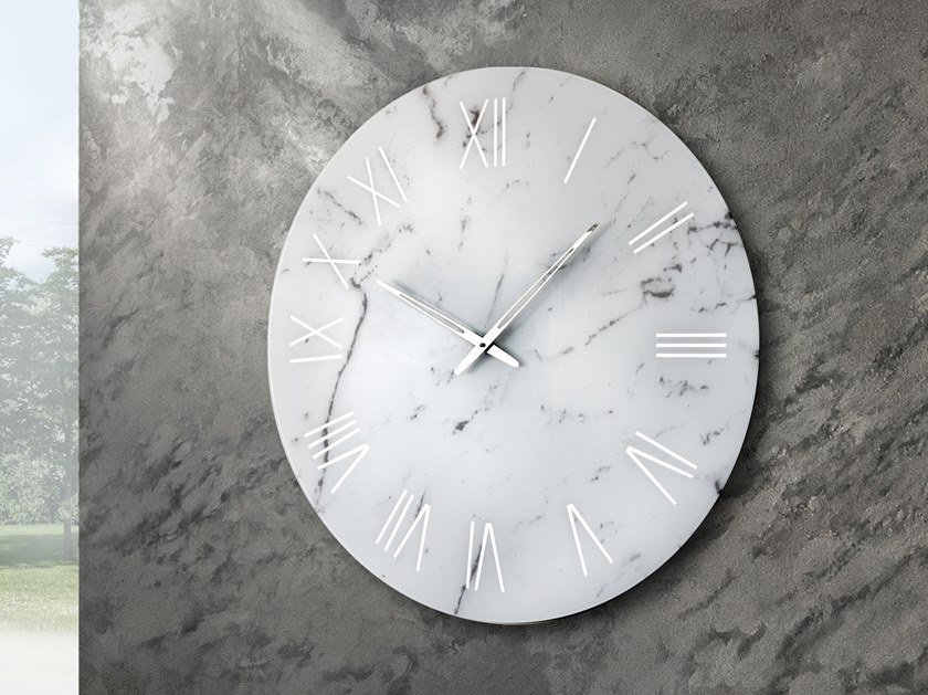 Wall-mounted screen printed glass clock PORTOFINO by RIFLESSI