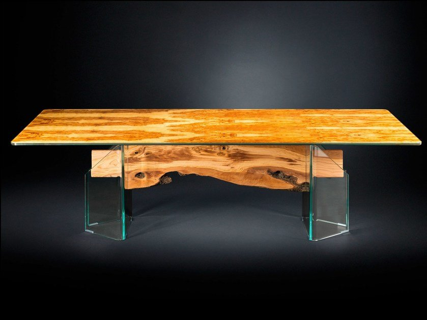 Rectangular wood and glass table PORTOFINO | Rectangular table by VGnewtrend