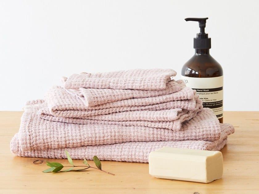 Linen waffle towel POWDER   Bath Towel by Linen Tales
