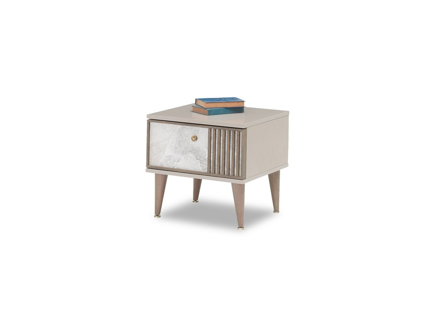 Rectangular wooden bedside table with drawers PRAGA | Bedside table by Enza Home