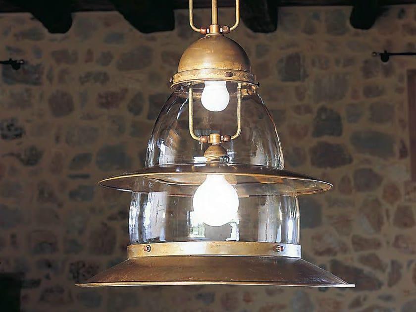 Direct-indirect light brass pendant lamp PRAMPER by Aldo Bernardi