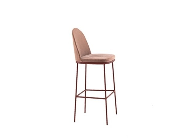 Upholstered steel stool with back PRECIOUS | Stool with back by Moroso