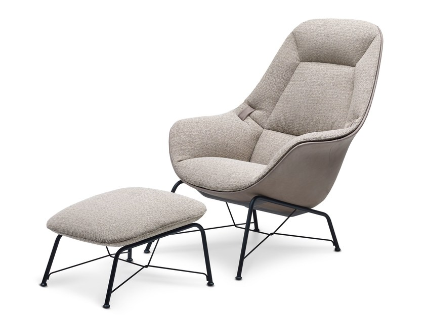 Fabric armchair with armrests PRELUDE LOUNGE | Armchair by JORI