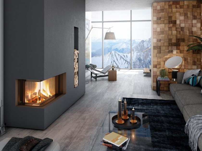 Wood-burning Corner Fireplace insert PREMIUM V-2L/R-80H by SPARTHERM