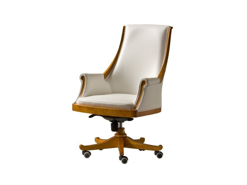 Swivel leather executive chair with casters PRESIDENT | Medium back executive chair by Morelato